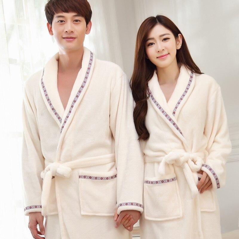 Thicken Lovers Bathrobe Gown Couple Coral Fleece Casual Sleepwear Kimono Robe Soft Flannel Nightwear Winter Nightgown Homewear