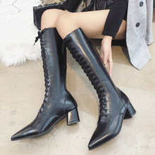 2019 New Over The Knee Boots Women Pointed Toes Sexy Boots Brand High Heels Boots Ladies Black Fashion Fall Boots Women Winter(China)