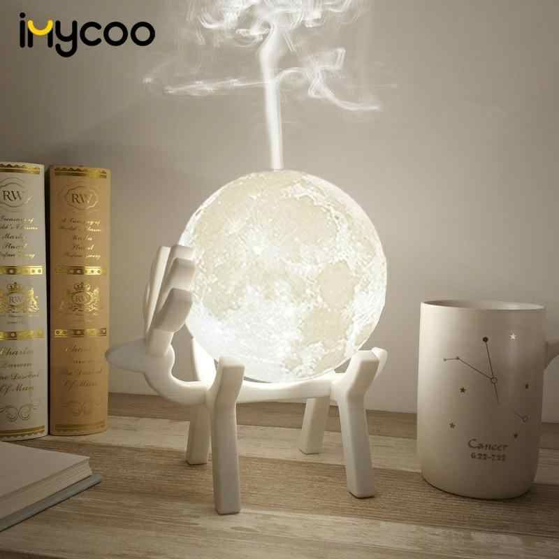 Drop Ship 880ML Ultrasone Maan Luchtbevochtiger Aroma Essentiële Olie Diffuser USB Mist Maker Humidificador met LED Night Lamp