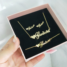 DODOAI Customized Jewelry Sets Trendy Letter Earrings Stainless Steel Name Necklace/Earrings/Bracelet/ Ring Nameplate Gift