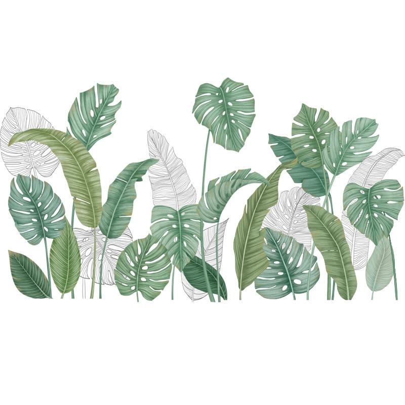 24 styles Green Leaves Wall Stickers for Bedroom Living room Dining room Kitchen Kids room DIY Vinyl Wall Decals Door Murals 6