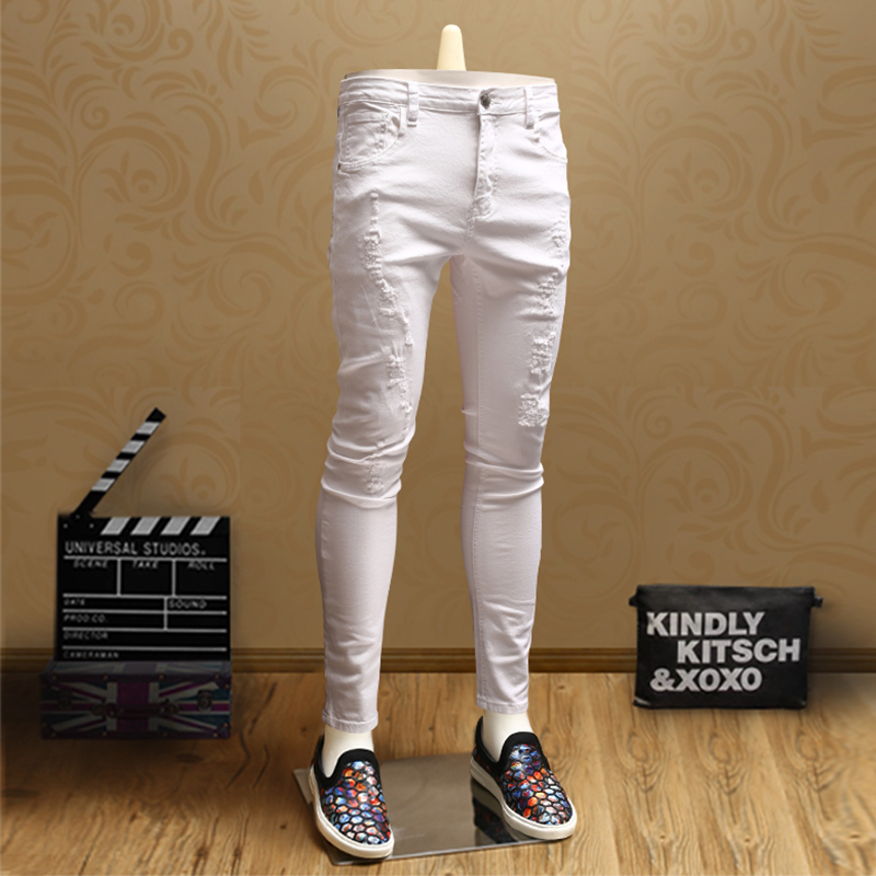 Casual Mens Skinny Ripped white jeans Streetwear Jean Pants for Cowboys Men PSMJ74