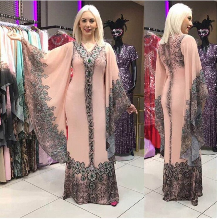 New African Women Dress Plus Size Chiffon  Dashiki Sexy Slim Ruffle Sleeve V-neck Evening Party Dresses For Lady