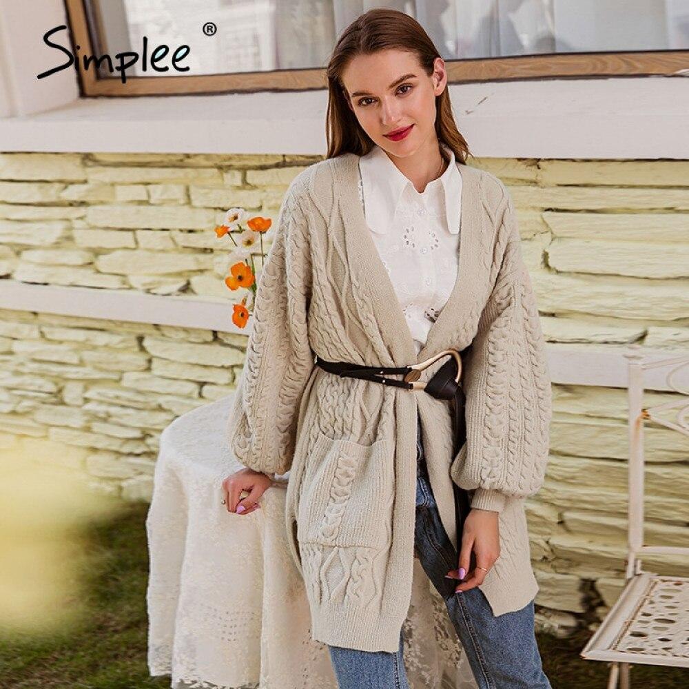 Simplee rahat kayısı sonbahar kış kadın hırka zarif v yaka uzun kollu örme kazak moda cep düz hırka