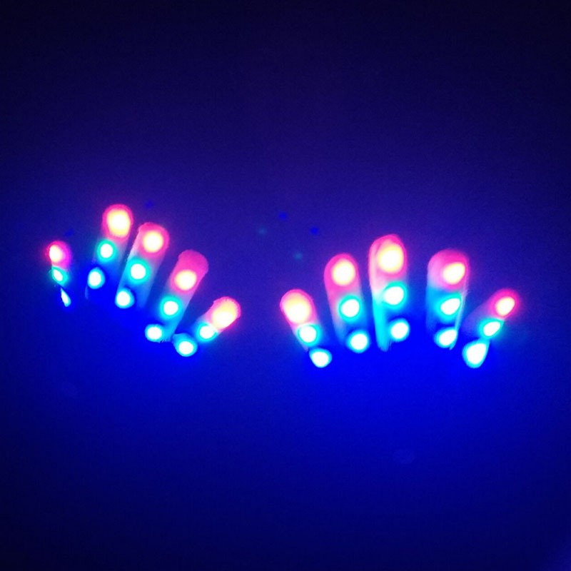 1pcs Halloween Children LED Gloves Keep Warm Gloves 7 Light Modes LED Gloves Finger Light Finger <font><b>Toys</b></font> Party Supplies image