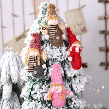 Knitted Doll Christmas Pendant Drop Ornaments Xmas Tree Hanging Decorations Gift Decoracion Navidad