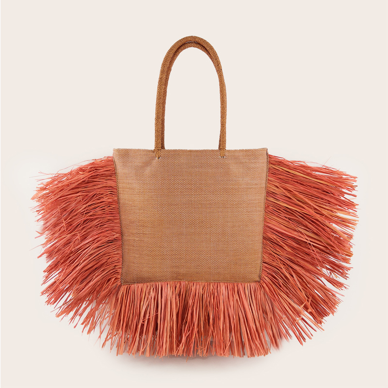 Bohemian Tassel Raffia Large Capacity Tote Bags For Women Woven Straw Shoulder Bag Luxury Wicker Lady Hand Bags Summer Beach Bag