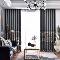 Luksusowy styl europejski zasłony do salonu haftowane liście żakardowe zasłony do sypialni szara bawełniana pościel wykonane na zamówienie