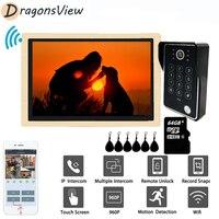 DragonsView 10 inch Wifi Video Door Phone Home Intercom Wireless 960P Doorbell RFID Password Unlock Record Motion Detection