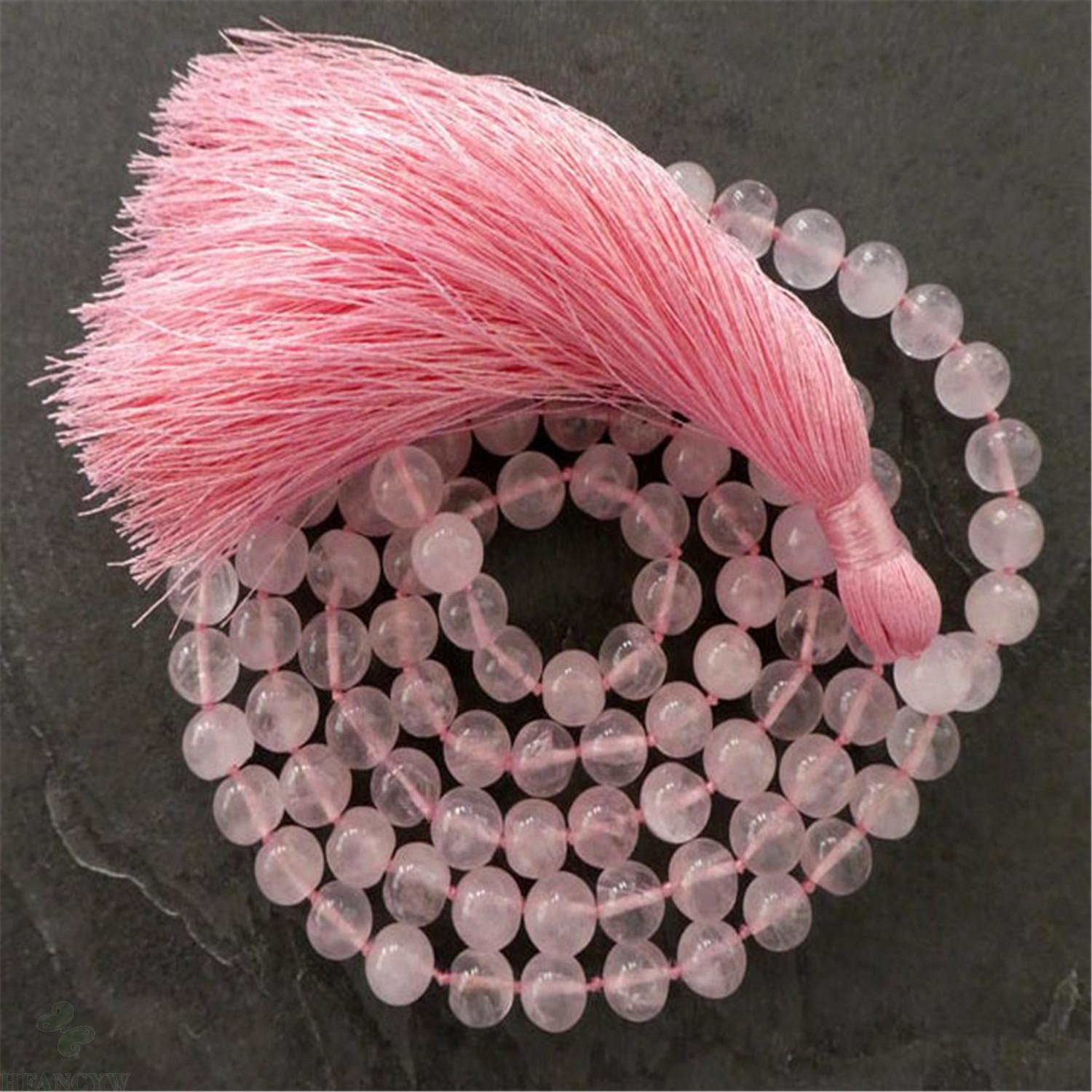 10mm Natural Pink Crystal 108 Beads Tassel Knotted Necklace Chakra Fancy Spirituality Cuff Wrist Bless Reiki Healing