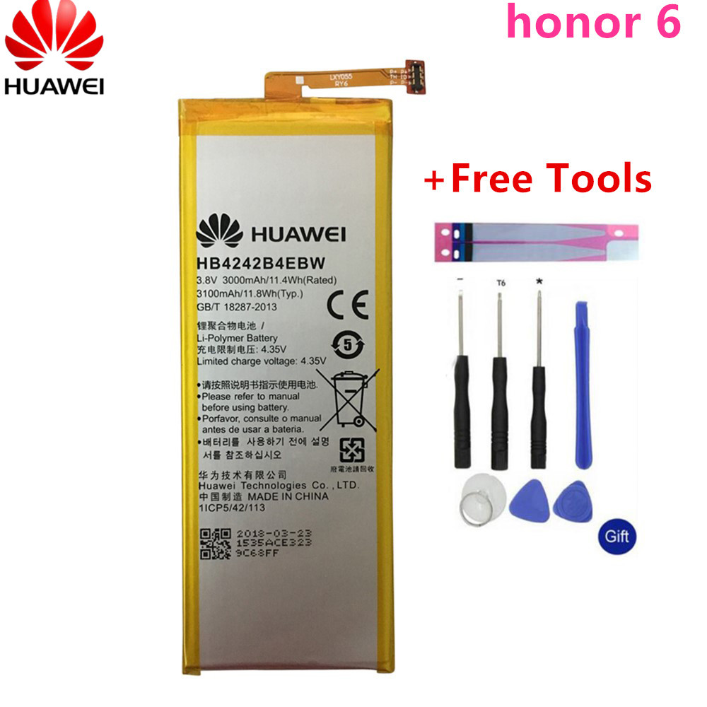Hua Wei Replacement Phone Battery HB4242B4EBW For Huawei Honor 6 / Honor 4X / Honor 7i / Shot X ShotX 3000mAh+Free Tools