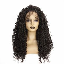 цена на Dark Brown Color Long Hair Afro Kinky Curly Lace Wigs Heat Resistant Fiber 180 Density Synthetic Lace Front Wig with Baby Hair