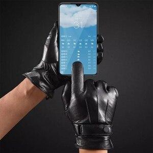 Image 2 - Youpin Qimian قفازات جلدية تعمل باللمس للرجال والنساء ، قفازات مقاومة للماء ، ناعمة ، إسبانية ، دافئة ، لفصل الشتاء