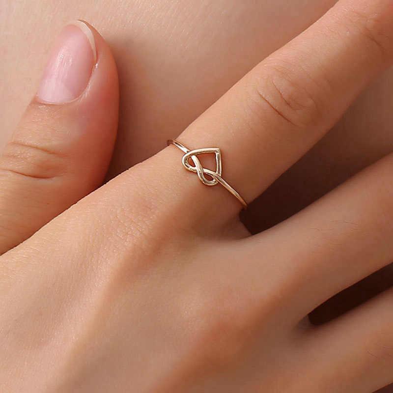Vintage Ring Everyday Schmuck Minimal Minimalistischen Herz Knoten Ringe Für Frauen Männer Gold Silber Farbe Einfache Geschenke