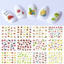 Mieszane 12 owoców zestaw naklejek do paznokci cytryna woda naklejki Transfer kolorowe suwak porady Nail Art arbuz Decor SABN829 840