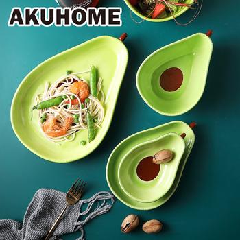 Kreatywny talerz awokado śliczne ceramiczne zastawy stołowe naczynia domowe talerz na przekąski awokado miska sałatka talerz na owoce zestawy obiadowe tanie i dobre opinie fruit Owalne 20522-1