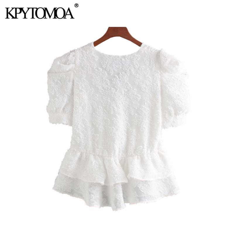 Vintage doce ruffed sólidos blusas femininas 2019 moda decote em v manga curta camisas femininas blusas mujer chic topos