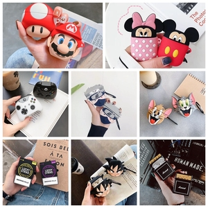 Cartoon Cute Box Wireless Bluetooth Headset Case For Apple Airpods 1 2 Earphone 3D Anime Cover For Airpods Protective Cases(China)