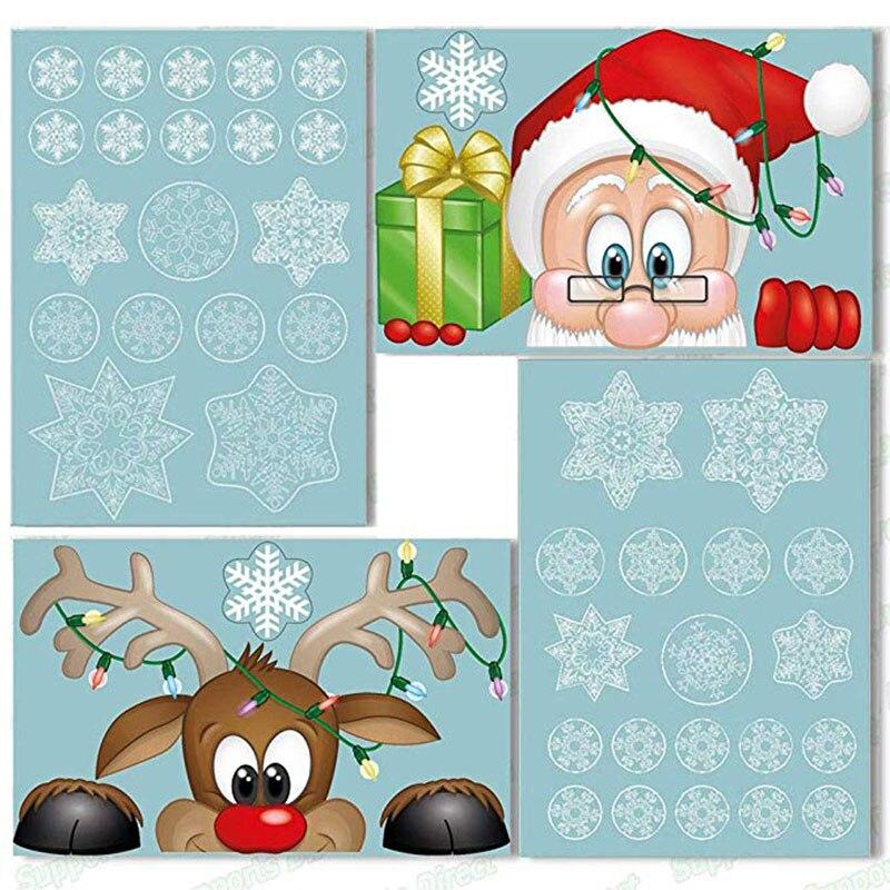Santa Elk noël PVC autocollant statique embellir les fenêtres de la maison grand flocon de neige autocollant mural nouvel an fête verre habiller bijoux