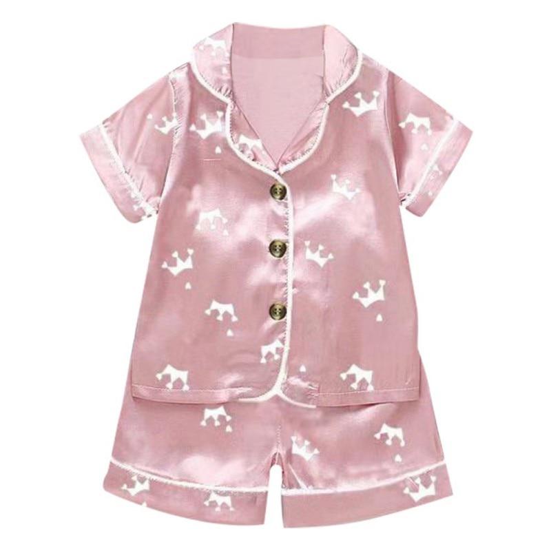 Kids Pajamas Set Silk Women Men Pajamas Boys Girls Bear Print Pyjamas Short Sleeve Blouse Tops+Shorts underwear & sleepwears 3
