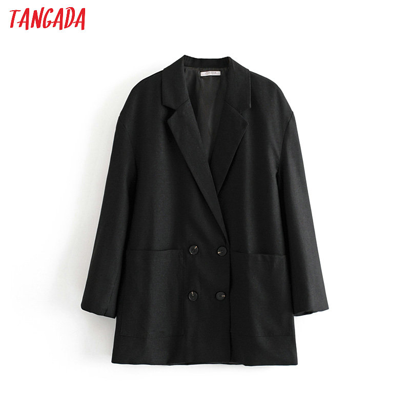 Tangada Women Loose Black Double Breasted Suit Jacket Designer Office Ladies Blazer Pockets Work Wear Tops DA40