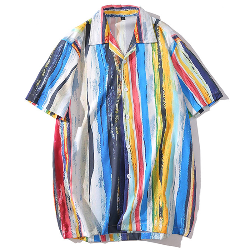 <font><b>Mens</b></font> Painting Rainbow Vertical <font><b>Stripes</b></font> Print Beach Aloha Hawaiian <font><b>Shirts</b></font> Hip Hop Casual <font><b>Short</b></font> <font><b>Sleeve</b></font> <font><b>Shirt</b></font> Tops Streetwear image