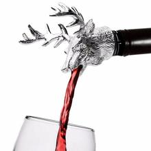 Zinc Alloy Wine Pourer and Bottle Stopper Deer Stag Head Shape Red Pourer Wine Cap Pouring Party Gifts transparent red wine pourer
