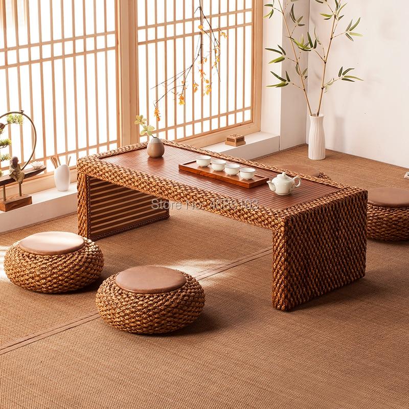 Big Size Natural Rattan Kung Fu Tea Table Dark Color Coffee Table Tatami Room Small Tea Table Balcony Tea Table For Living Room