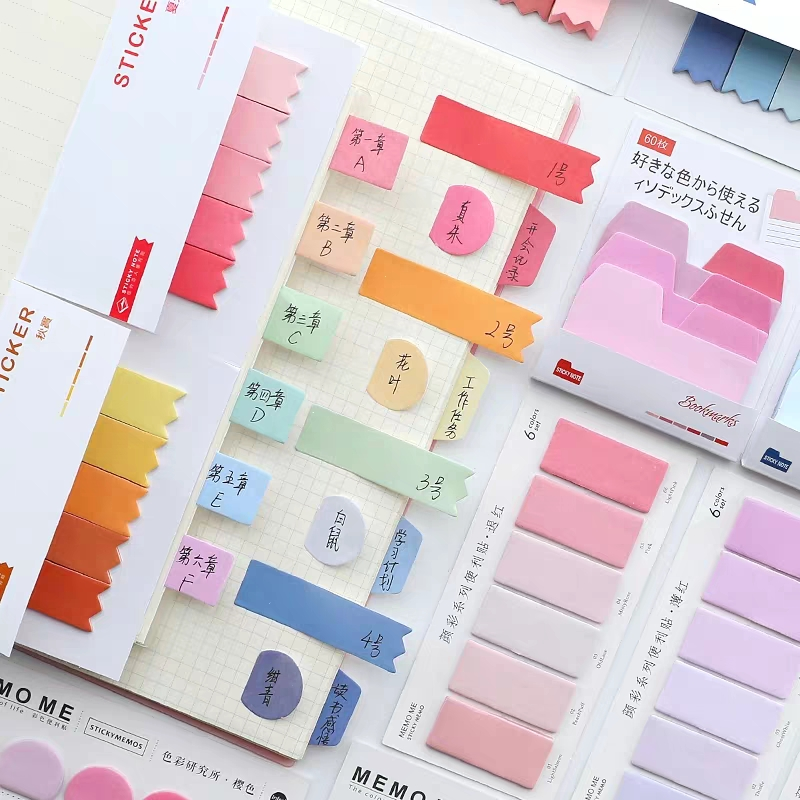Sharkbang 60/80 листов, градиентный цвет, N раз, липкий индекс, наклейка для заметок, стикер, закладка для списка, Paperlaria, школьные канцелярские принадлежности 1