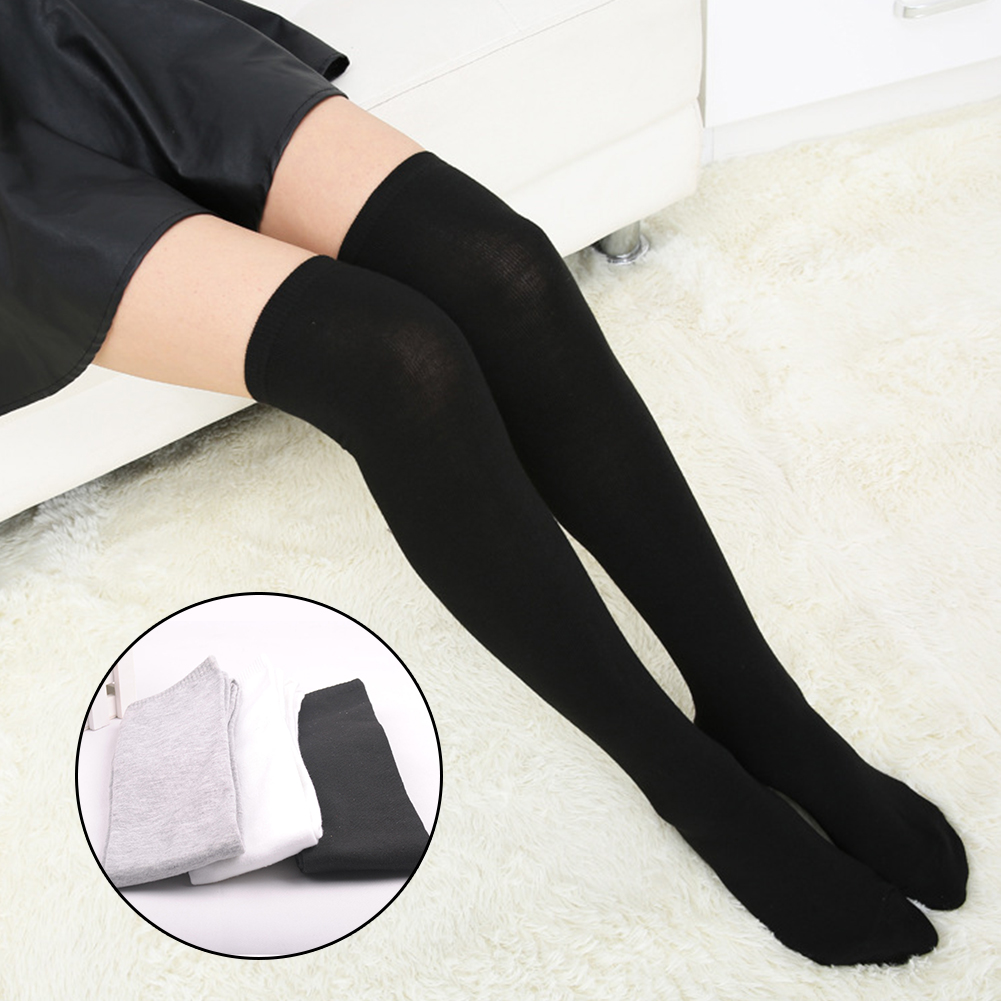 Women Socks Gift Over Knee Anti Sweat Leg Warmer Solid Cotton Blend Stockings Long Elastic Casual Soft Autumn Breathable