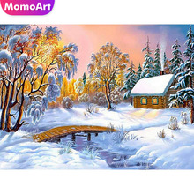 MomoArt Diamond Painting Landscape Embroidery Snow Night Full Square Drill Rhinestone Needlework Mosaic Kits