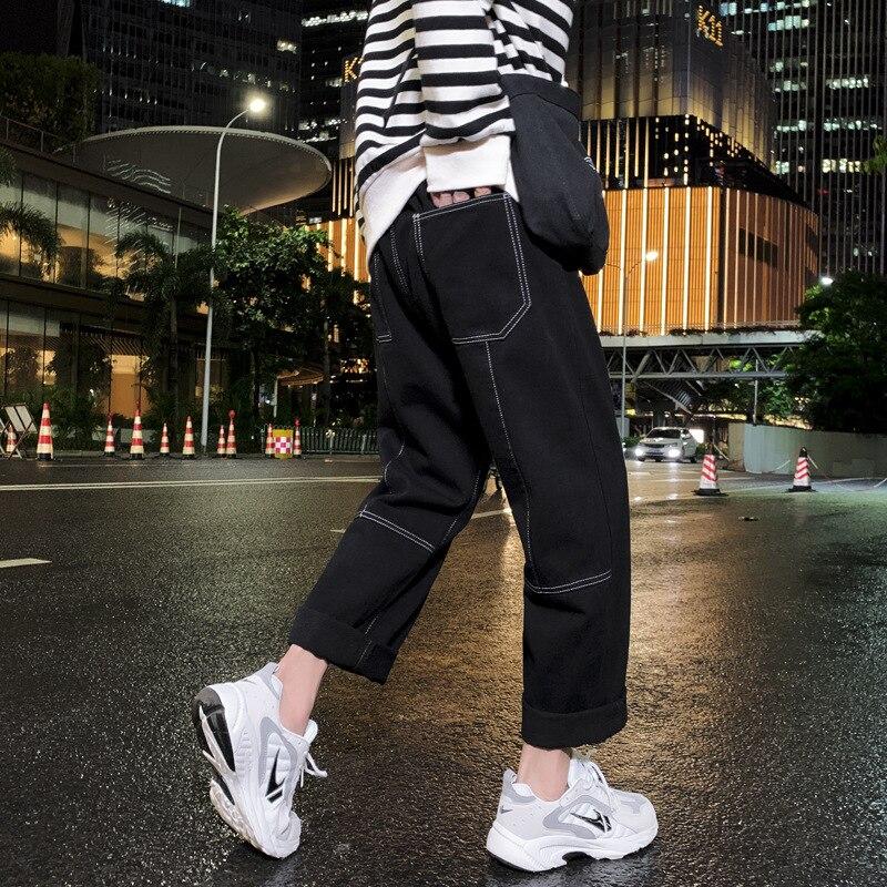 Men's Spring Autumn Wide Leg Baggy Jeans Men Blue Straight Jeans Hip Hop Loose Ankle Length Denim Pants Plus Size