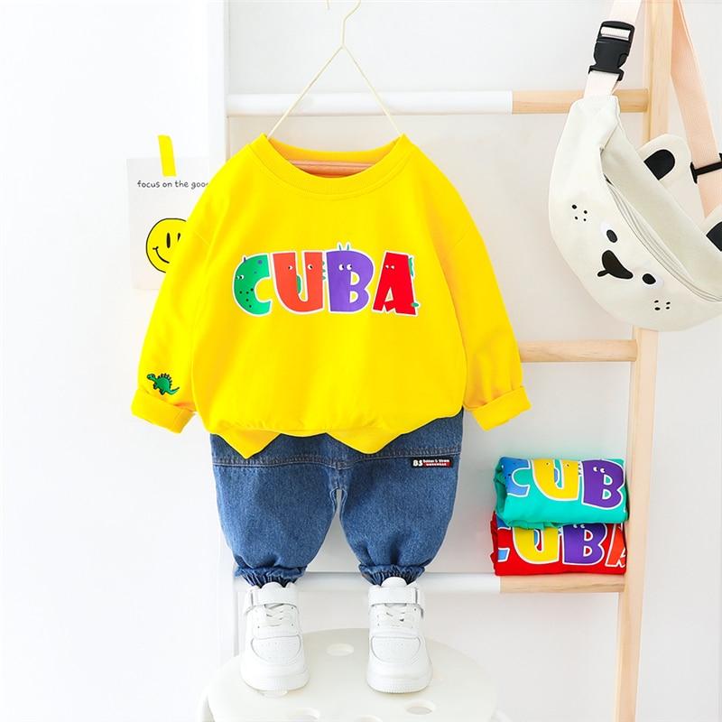 HYLKIDHUOSE 2020 Spring Baby Boys Girls Clothing Sets Toddler Infant Long Sleeve T Shirt Pants Baby Girls Boys Vacation Costume
