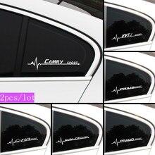 Estilo do carro 2 pçs janela lateral do carro adesivos decalques à prova dwaterproof água para toyota camry c-hr corolla rav4 prius prado emblema acessórios