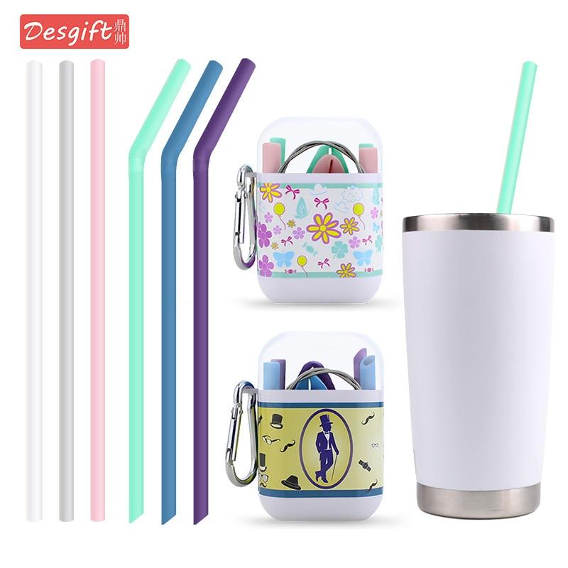 FDA Silicone Straw Environmentally Friendly Foldable Milk Tea Zhi Xi Guan Curved Straw Silicon Jiao Xi Guan Jiao Nang He Set