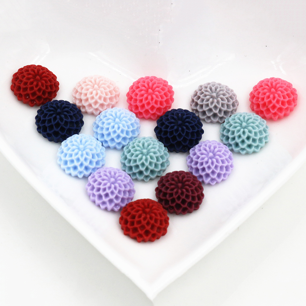 New Fashion 40pcs 12mm Mix Color Crack Style Flat Back Resin Flower Cabochons Cameo  G7-12