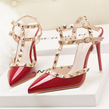 Women Pumps Ladies Sexy Pointed Toe High Heels Fashion Studded Stiletto Rivet High Heel Sandals Shoes Large Size