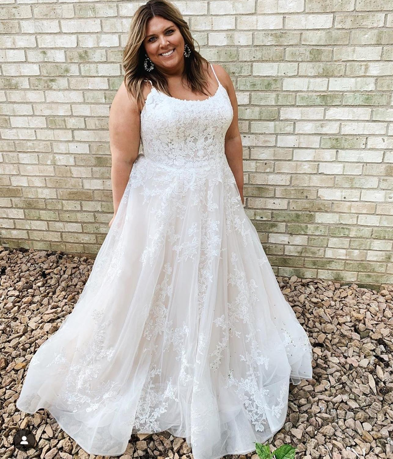 2020 Plus Size Wedding Dress A-Line Elegant Scoop Floor Length Spaghetti Strap Bridal Gowns Large Size Sleeveless  For African