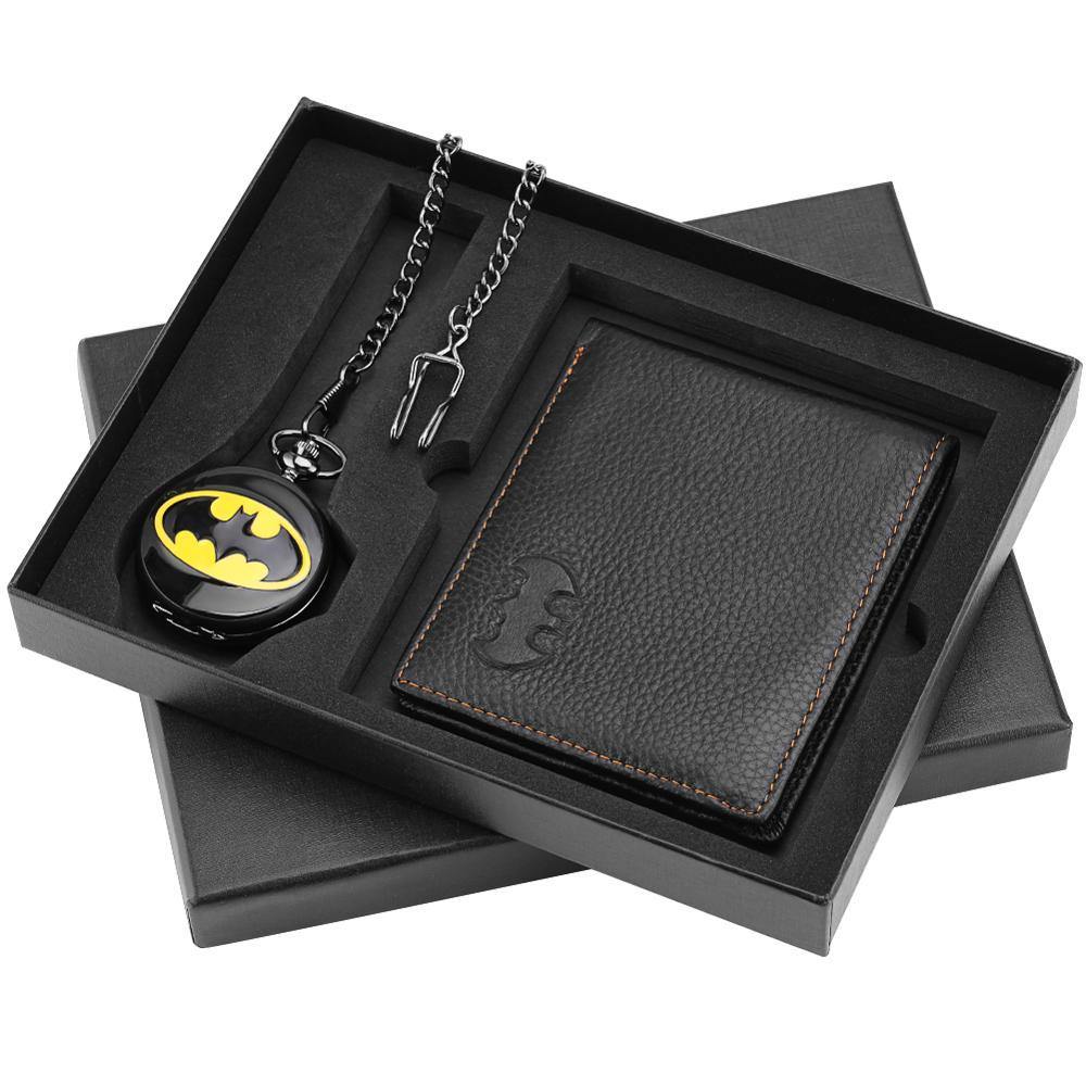 Pocket Watch Wallet Set Batman Pendant Superman Necklace Fob Watches Premium Leather Wallet Nice Gifts New Arrival