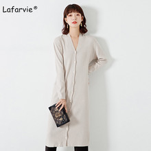 Lafarvie Autumn Winter Knitted Long Cardigan Sweater Women Full Sleeve V-neck Single Breasted Fashion Warm Slim Solid Color M L