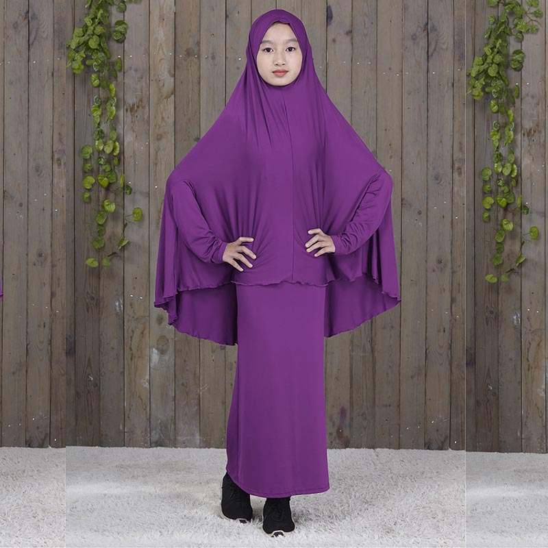 Fashion muslim sets children abaya turkey modest clothing girl set 2 pieces prayer dress islamic djellaba free shippin to peru