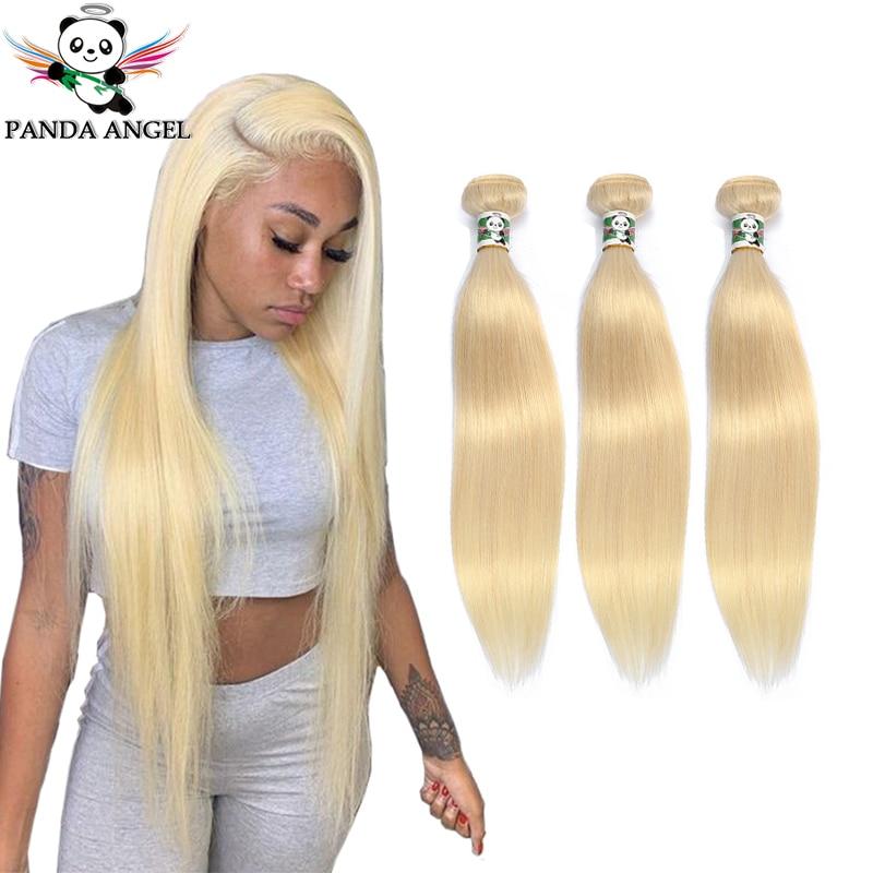 Brazilian Straight Blonde Hair Bundles Weave For Women 1/3Pc 613 Blonde Bundles Remy Human Hair Weave Extensions 10-28Inch Panda
