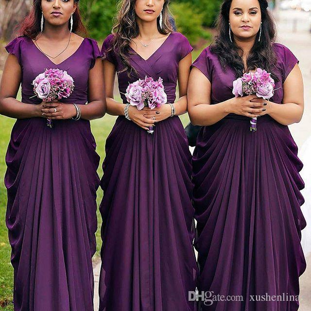 V-Neck Cap Sleeves Ruffles Ruched Wedding Party Gown Charming Sexy Maid Of Honor Gowns Elegant Chiffon Bridesmaid Dresses