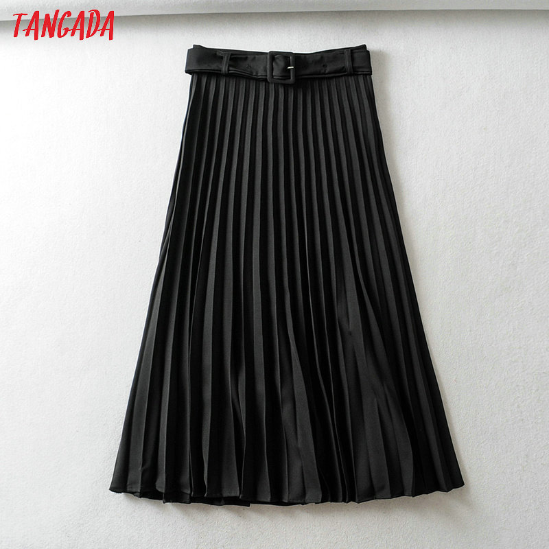 Tangada Autumn Winter Women Pleated Midi Skirt Faldas Mujer Vintage With Belt Solid Female Casual Chic Mid Calf Skirts 6A269