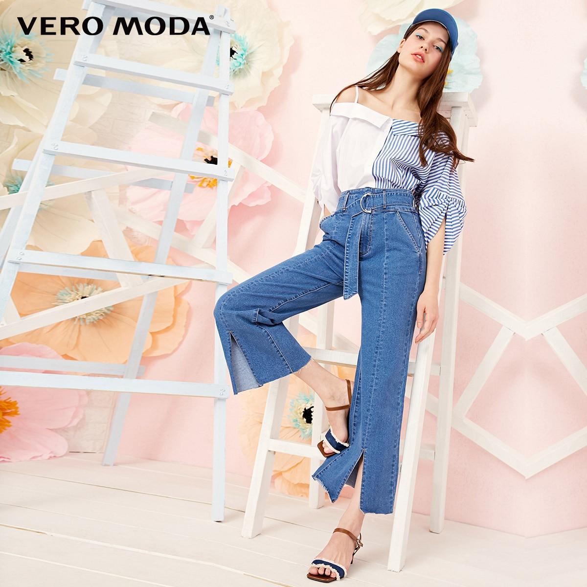 Vero Moda 2019 New Arrivals Women's High Waist Split Cuffs Wide-leg Jeans  | 319149545