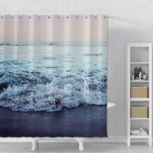 Ocean Waves Shower Curtain Printed Beach For Bathroom Waterproof Shower Curtain With Hooks Polyester Bathroom Shower Curtain Set beach sunlight waterproof shower curtain