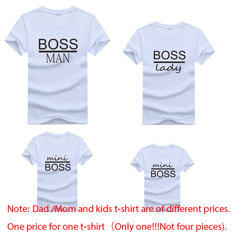 Gourd doll Family Matching Outfits Mommy Daddy Kid Son Baby T-Shirt Shirts Family Clothes Child T-Shirt Letter Print Tops - Цвет: family t-shirt boss2
