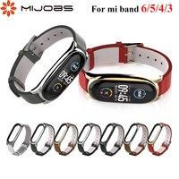 Bandjes Voor Mi Band 6 5 4 3 Lederen Armband Op Mi Band 4 Correa Mi Band 6 Riem Metalen polsbandjes Miband4 Voor Xiaomi Xiomi