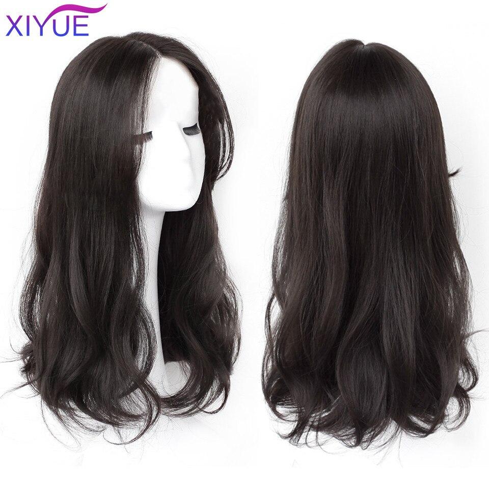 Длинные Синтетические вьющиеся парики XIYUE с центральной челкой, натуральные вьющиеся темно-коричневые парики для женщин, парики для коспле...