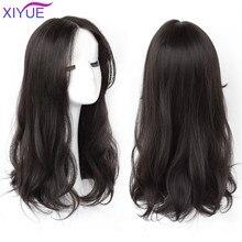 XIYUE sintético largo rizado pelucas con Centro flequillo rizado Natural pelucas marrones oscuras para las mujeres pelucas de Cosplay fibra resistente al calor pelucas